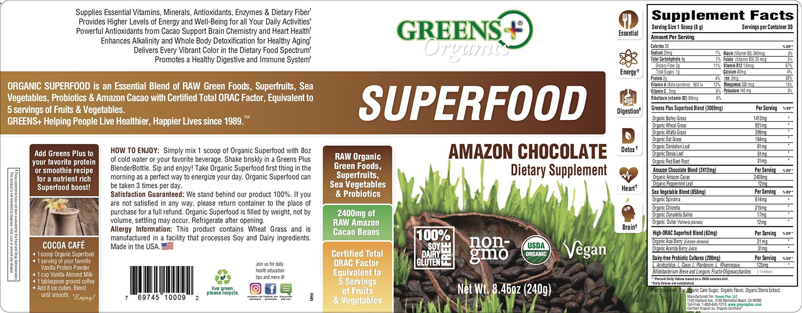 Greens Plus Organics Super-Food Amazon Chocolate | Non GMO | Dietary Supplement Greens Powder - 8.46 Oz