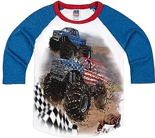product image for Shirts That Go Little Boys' GO USA Monster Trucks Racing Raglan T-Shirt