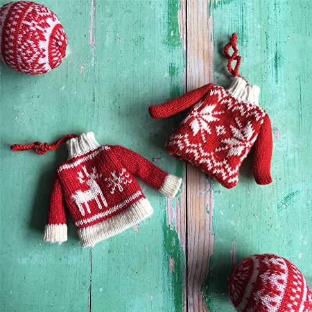 The Contemporary Home Set Of Two Knitted Jumper Decorations Amazon