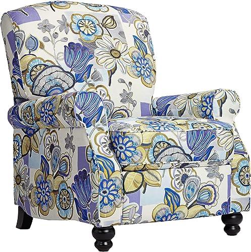 Ethel Indigo Floral Push Back Recliner Chair – Elm Lane