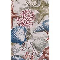 Seashells, Starfish, Coral and Seaweed Collage Vinyl Flannel Back Tablecloth (52...