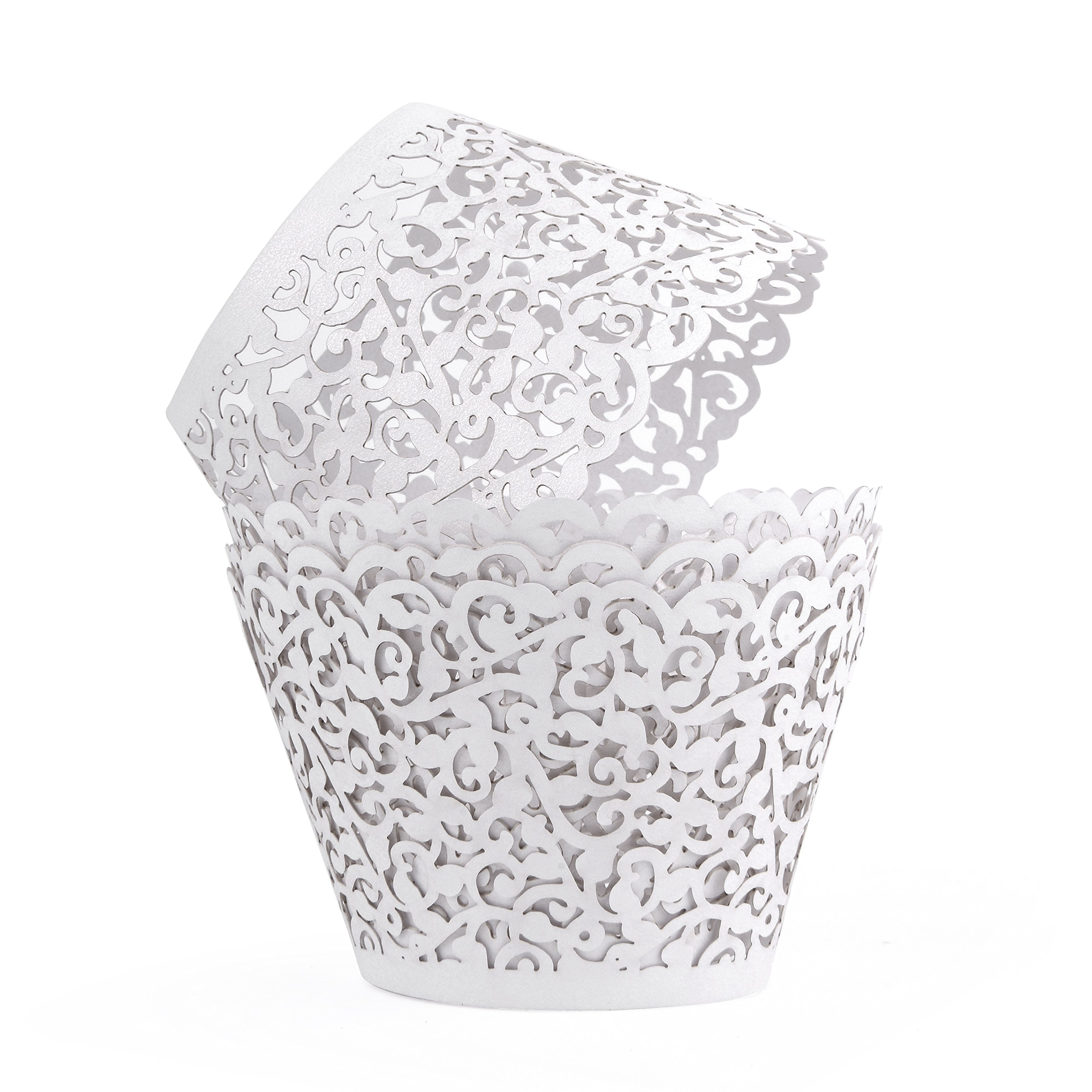 100 Pack - Cupcake Wrappers White Shimmering Decorative Vine Lace Liner Wrapper - Versatile Design makes it perfect for Weddings Birthdays Tea Parties and any Special Event