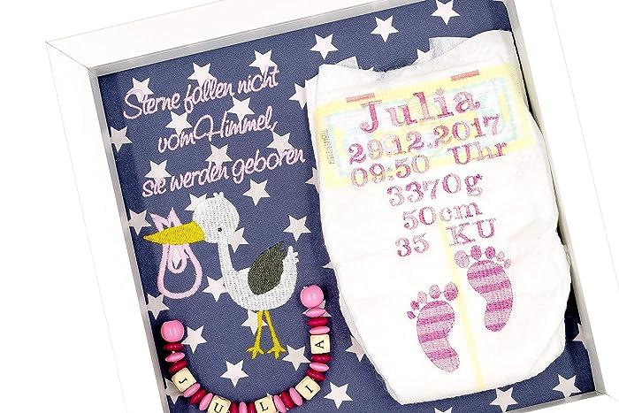 ♥ Windelrahmen mit Geburtsdaten des Kindes Bestickte Windel ♥ Rosa-Pink