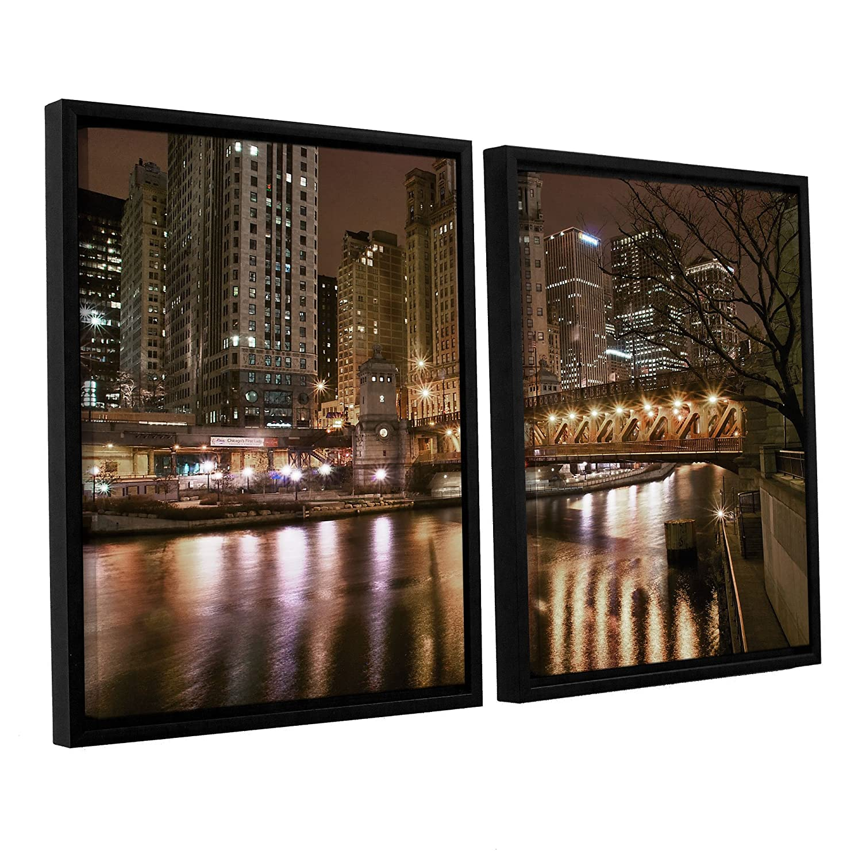 ArtWall Dan Wilsons Chicago-Michigan Abenue Bridge 2-Piece Floater Framed Canvas Artwork 32 by 48-Inch