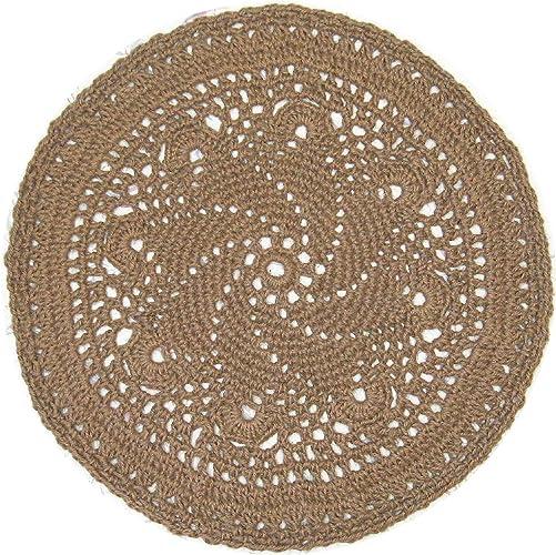 Amazon Round Area Jute Rug Star Pattern Handmade Crochet