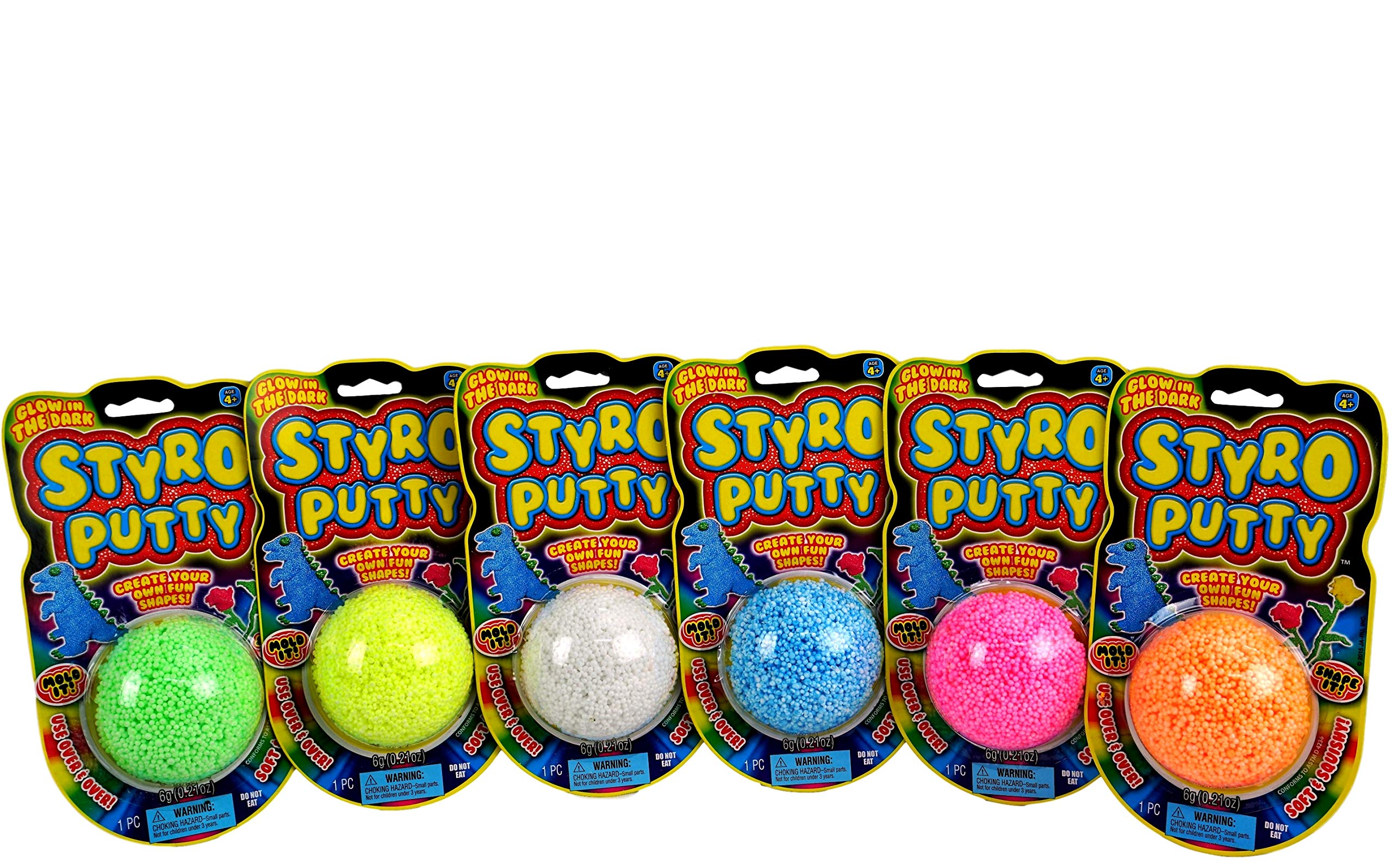 JA-RU STYRO Putty Foam Glows in The Dark (Pack of 144) Styrofoam Shapable Mold Soft and Squishy | Item #1328-144 by JA-RU (Image #2)