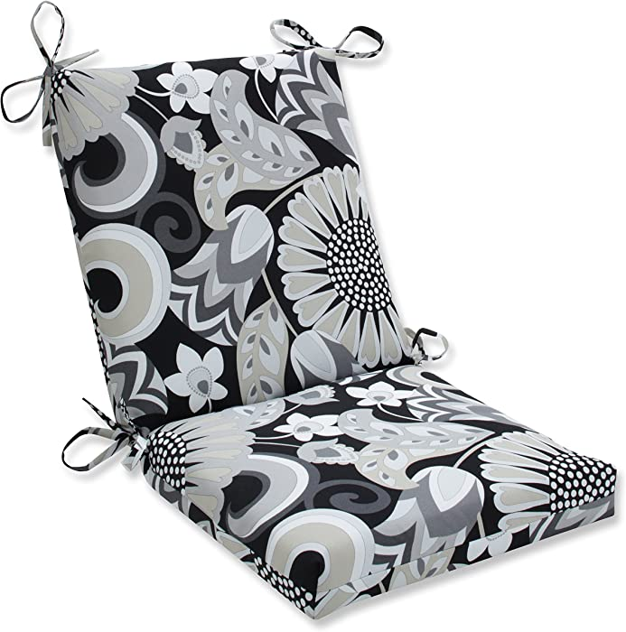 Pillow Perfect Outdoor | Indoor Sophia Graphite Squared Corners Chair Cushion