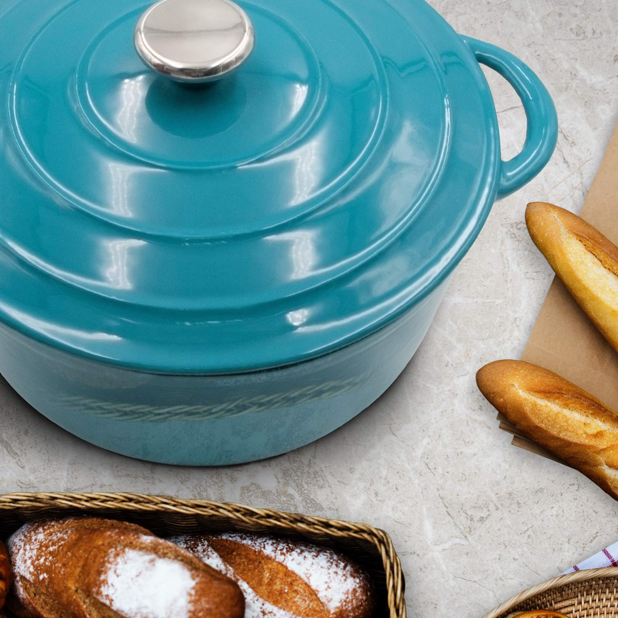 Enameled Cast Iron Dutch Oven - 5-Quart Turquoise Blue Round Ceramic Coated Cookware French Oven with Self Basting Lid by AIDEA by AIDEA (Image #2)