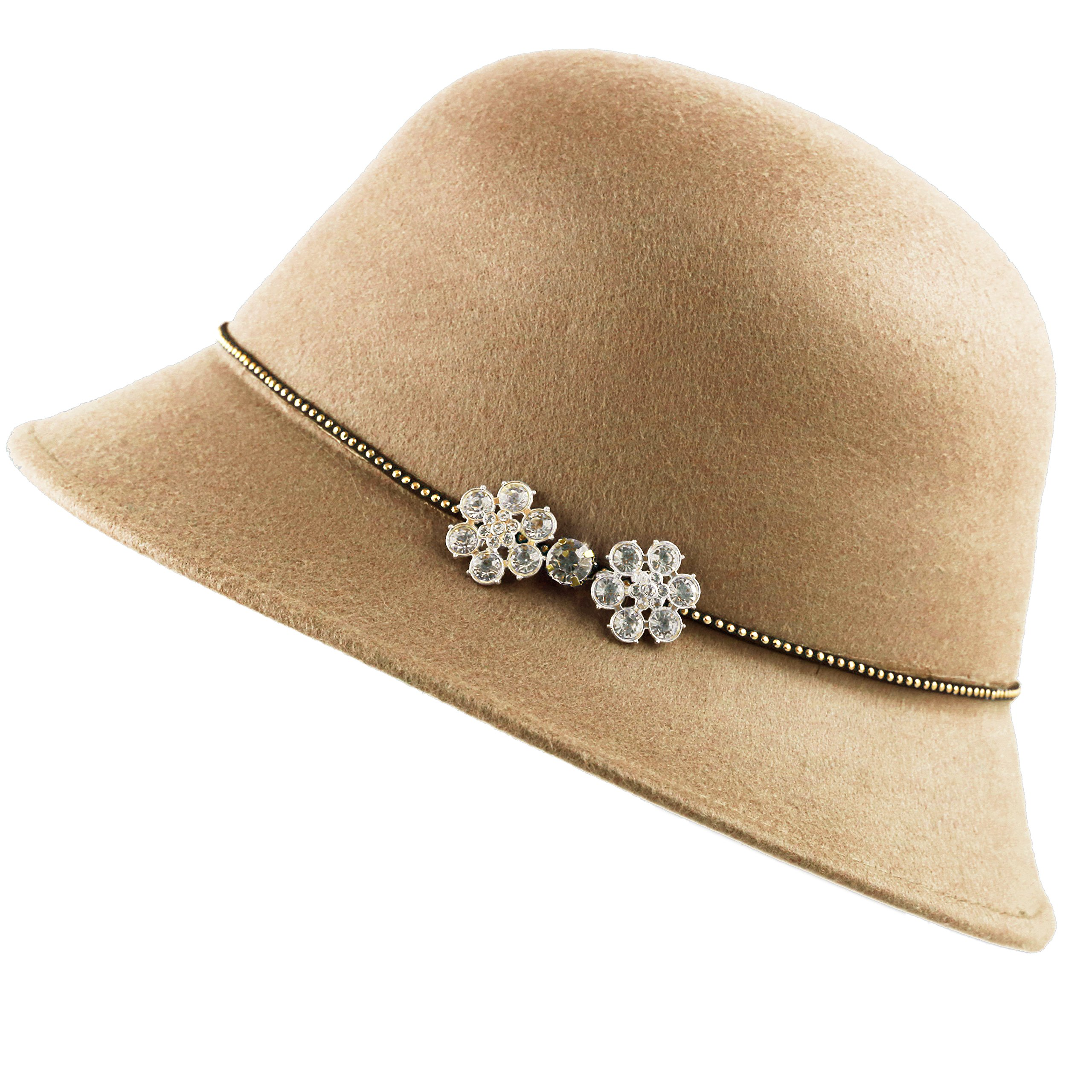 THE HAT DEPOT Felt Cloche Winter Hat With Studded Band Rhinestone Flower (Camel)