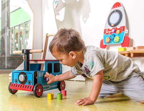 Carro de juego para empujar con diseño de tren: Amazon.es ...
