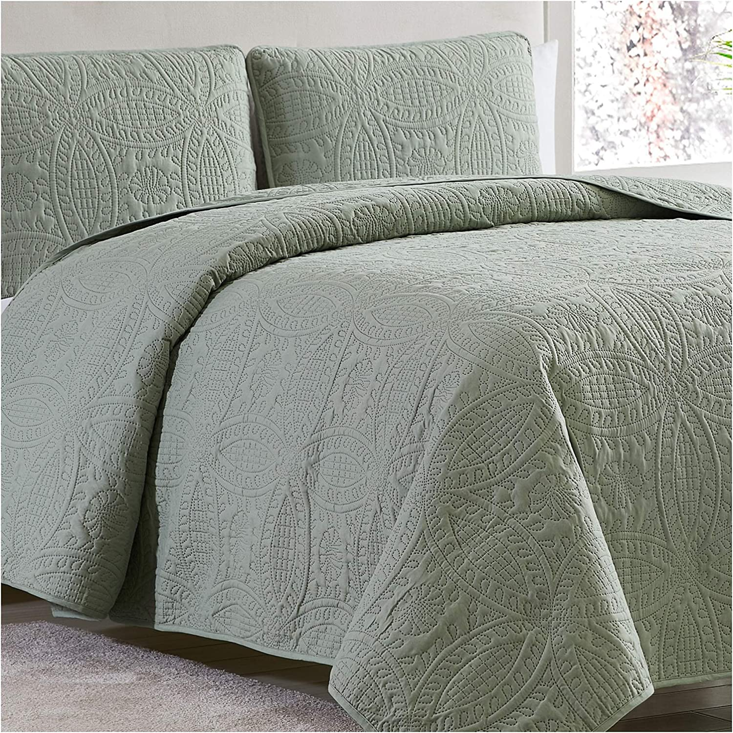 Mellanni Bedspread Coverlet Set Olive-Green - Comforter Bedding Cover - Oversized 3-Piece Quilt Set (Full/Queen, Olive Green)