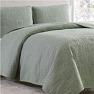 Mellanni Bedspread Coverlet Set Olive-Green - Comforter Bedding Cover - Oversized 3-Piece Quilt Set (Full/Queen, Olive Green)
