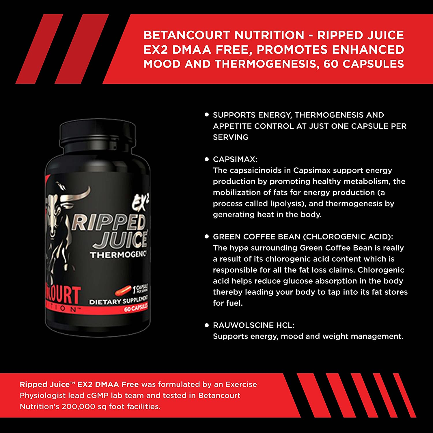 Amazon.com: Betancourt Nutrition Ripped Juice EX2 Thermogenic, 60 Capsules: Health & Personal Care