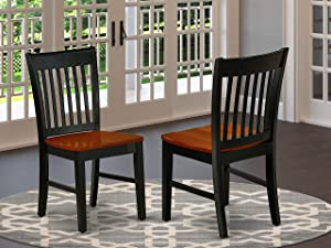 East West Furniture NFC-BCH-W Norfolk Formal Dining Chair with Plain Wood Seat in Black and Cherry Finish (Set of 2), Black & Cherry