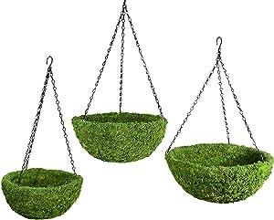 SuperMoss (29320) MossWeave Hanging Basket - Round, Fresh Green, Set of 3 (S/M/L)