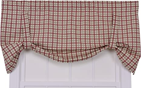 Ellis Curtain Bristol Collection Two Tone Plaid Tie Up Valance Curtain Red Home Kitchen