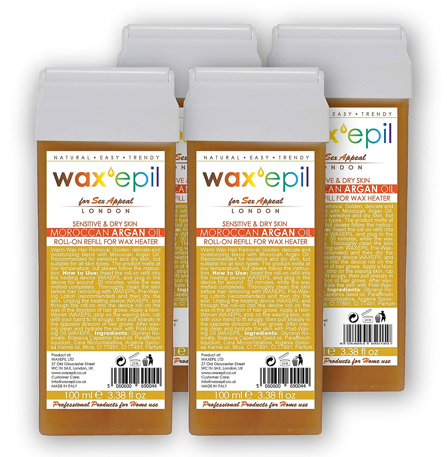 WAXEPIL *Moroccan Argan Oil* for Sensitive Skin - Professional Wax Roll-on Refill/Roller Cartridge Hair Removal - 4x100ml (3+1free)