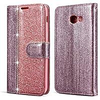 Miagon A3 2017 Custodia,Galaxy A3 2017 Cover,Brillantini Glitter Flip Caso in Pelle PU Portafoglio Custodia a Libro Magnetica con Funzione di appoggio per Samsung Galaxy A3 2017