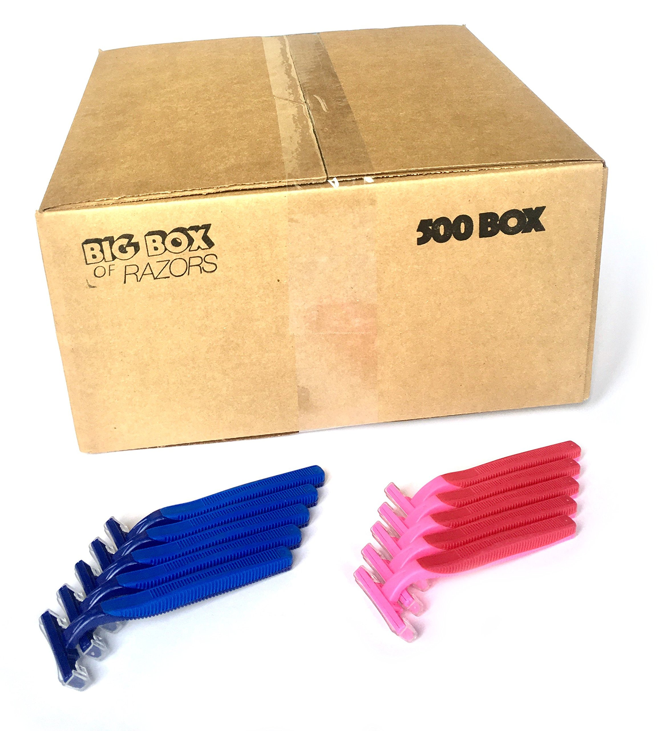 500 Box His & Her Combo Pack of Blue & Pink Bulk Wholesale Disposable Twin Blade Razors for Men & Women