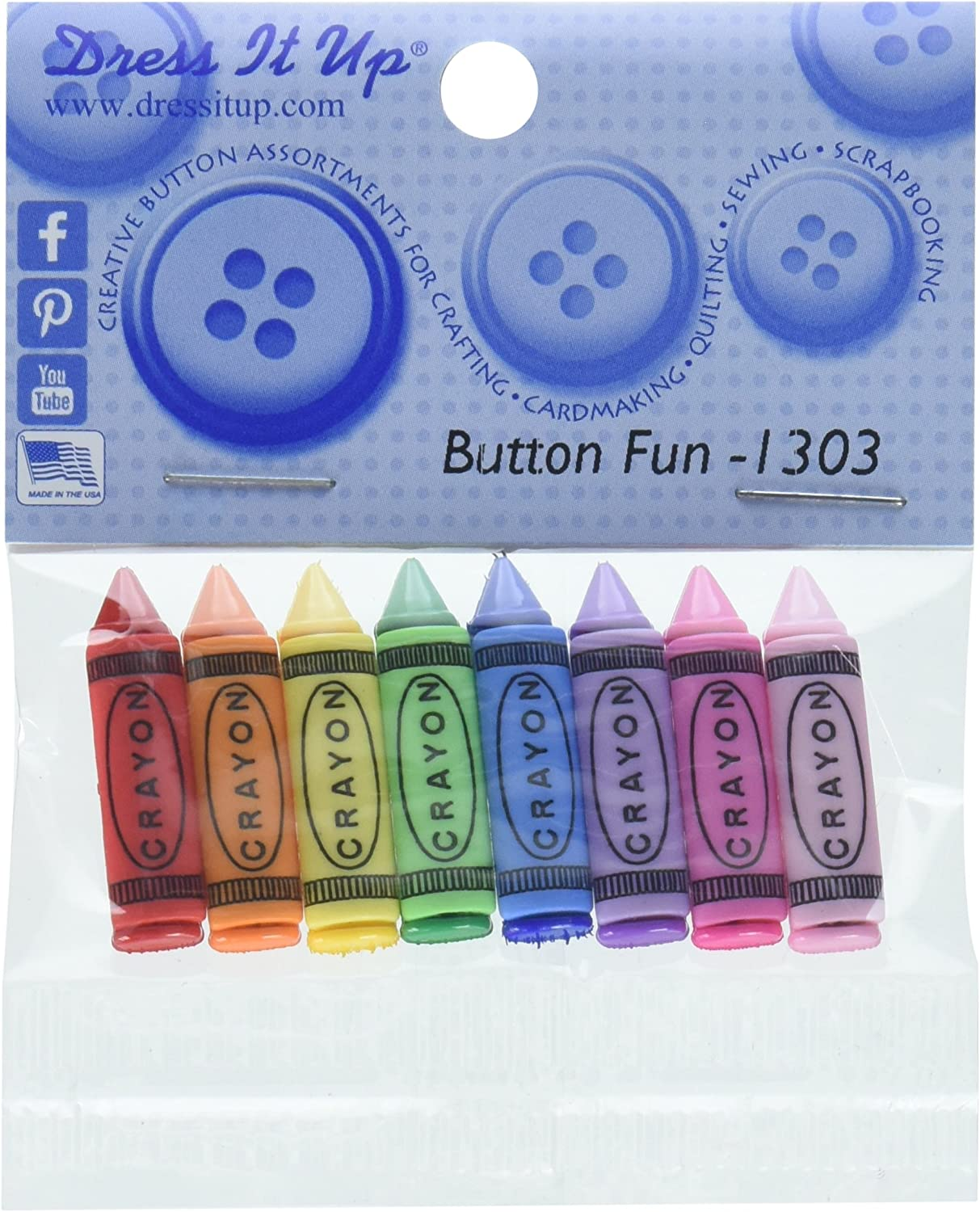 Jesse James Dress It Up Buttons School Collection #1303 Bf-Crayons 1303-1P 1-Pack