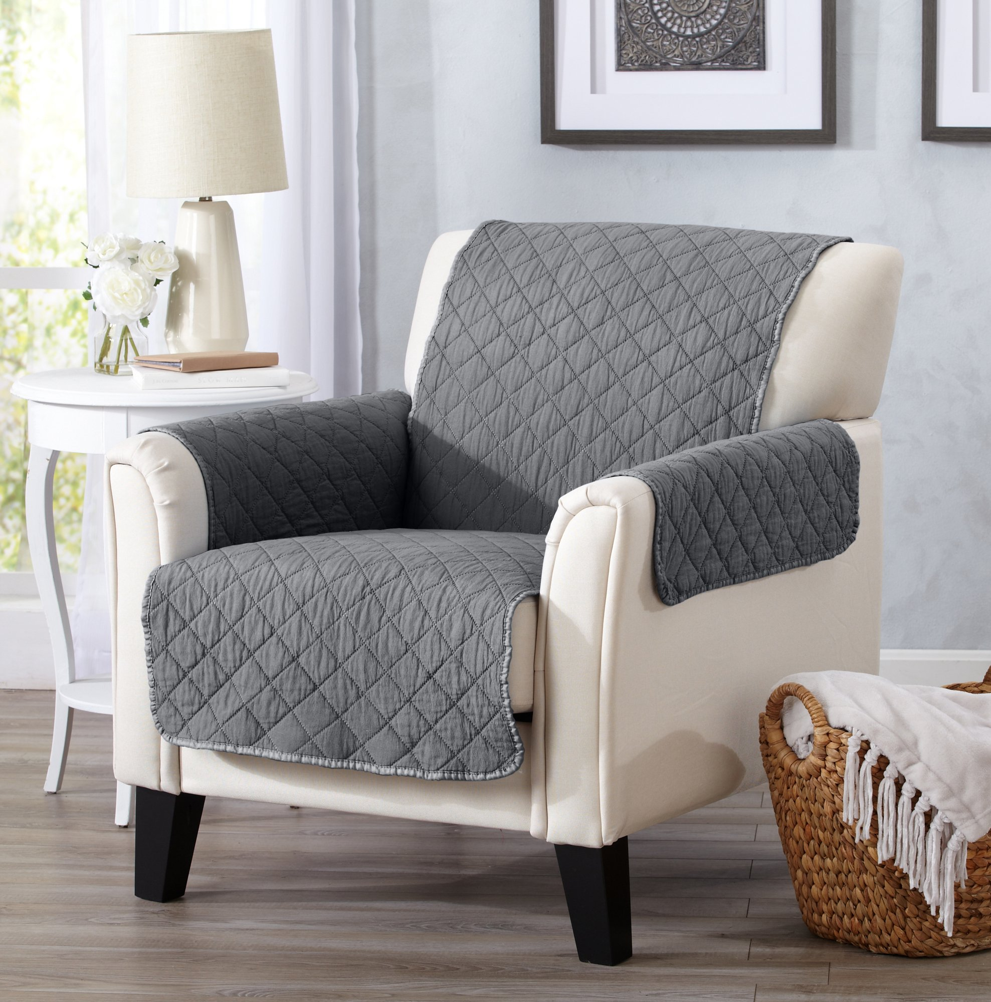 Great Bay Home Deluxe Stonewashed Stain Resistant Furniture Protector in Solid Colors. Laurina Collection By Brand. (Chair, Storm Grey)