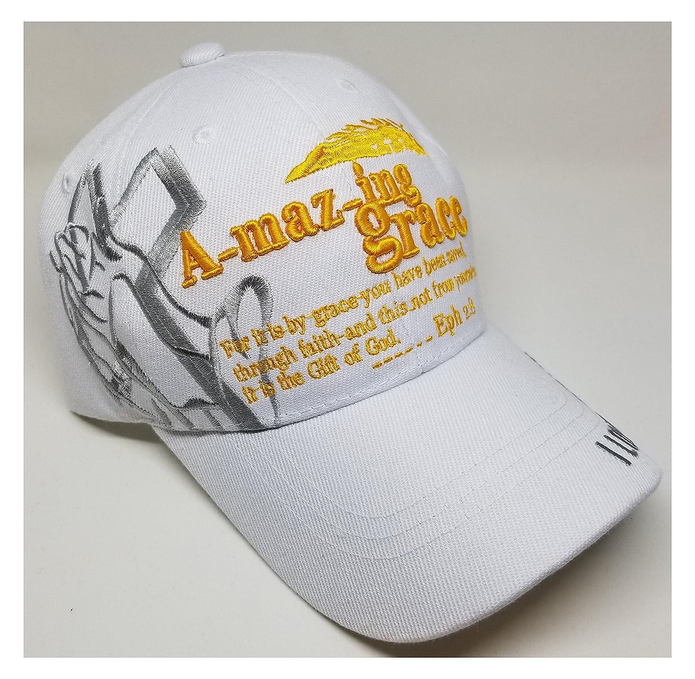 Amazon.com: Christian gorra de béisbol Amazing Grace blanco ...