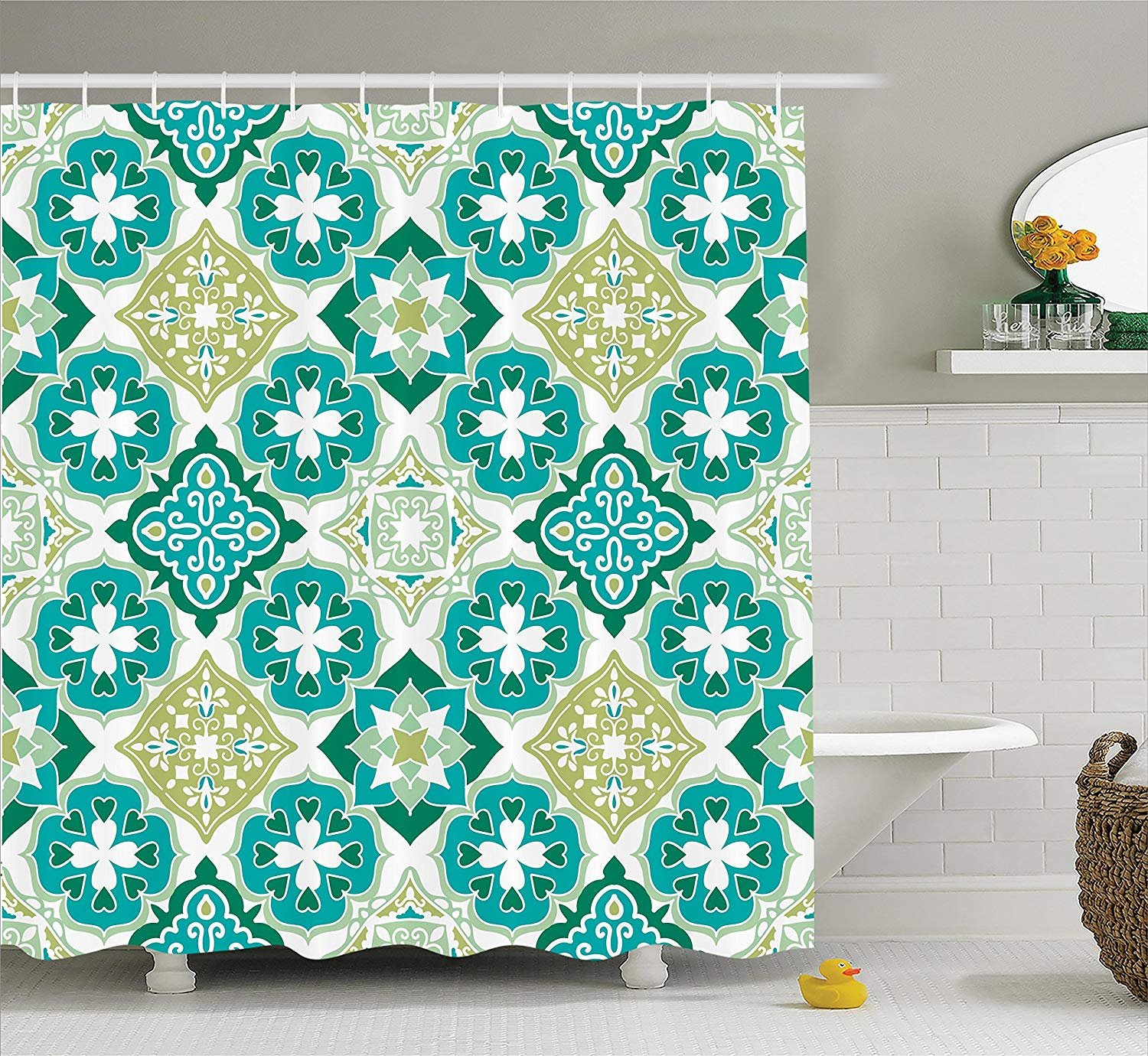 Printing Moroccan Decor Shower Curtain Set, Colored Tiled Pattern with Geometrical Diagonal and Triangle Forms Oldest Craft, Bathroom Fabric Curtains Bath Waterproof, 72 x 84 Inches Green Teal