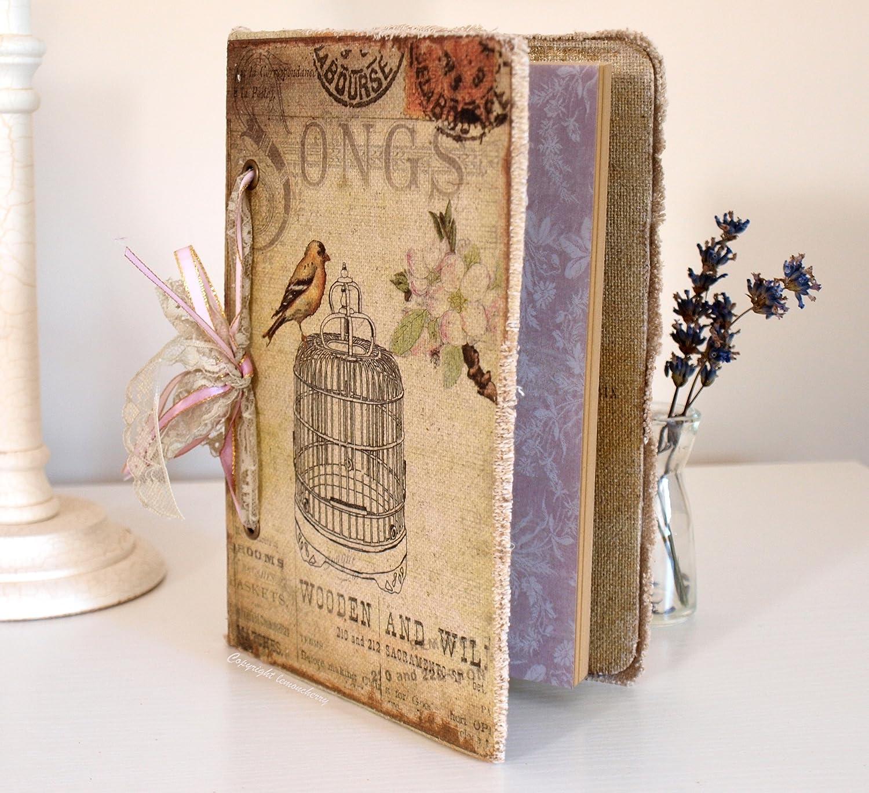 How to scrapbook memories - Chic Shabby Pretty Vintage Style Handmade Notebook Scrapbook For Photographs Memories Keepsakes Songs
