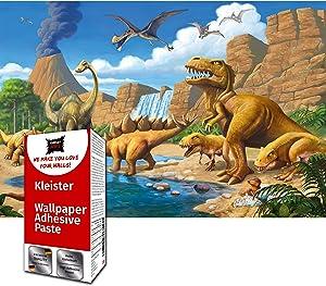 Great Art Photo Wallpaper Dinosaur Decoration 210x140 cm / 82.7x55in – Kid's Room Nursery T-Rex Stegosaurus Reptiles Comic Style Cartoon Mural – 5 Pieces Includes Paste