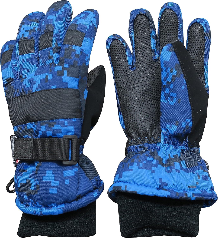 Black Stripe, 4-5 Years NIce Caps Kids Bulky Thinsulate Waterproof Winter Snow Ski Glove with Ridges