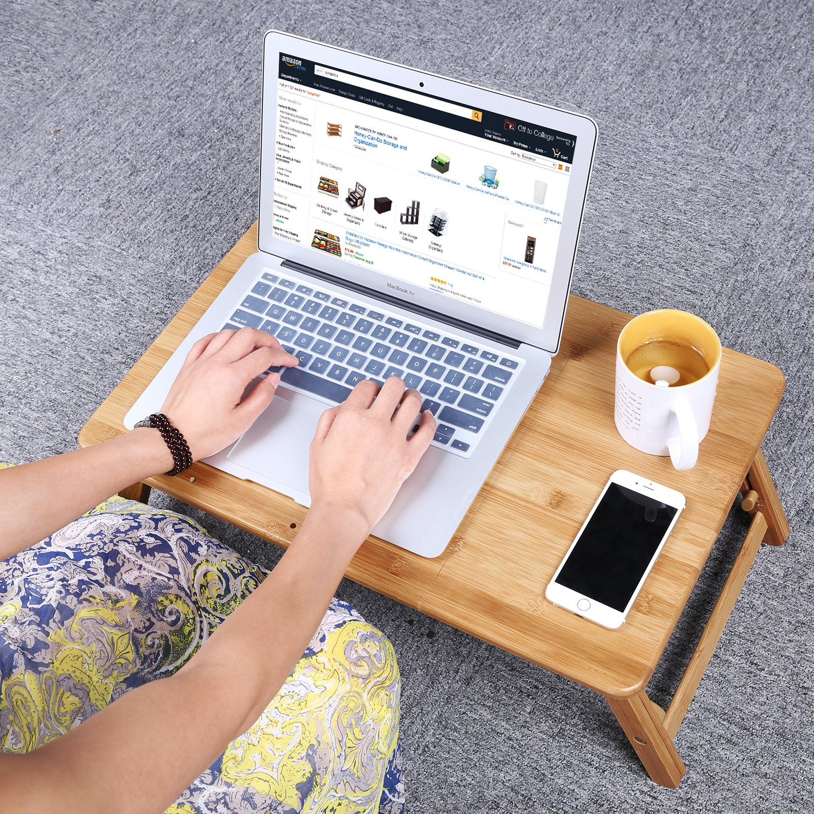 SONGMICS Bamboo Laptop Desk Serving Bed Tray Tilting Top ULLD001 by SONGMICS (Image #2)
