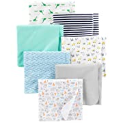 Simple Joys by Carter's Baby Boys' 7-Pack Flannel Receiving Blankets, Trucks/Animals/Dino/Whales, One Size