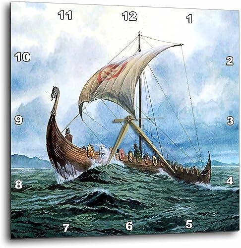 3dRose DPP_98640_1 Viking Ship.Jpg-Wall Clock, 10 by 10-Inch