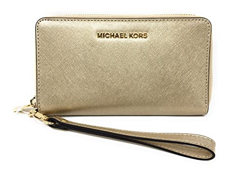 cc4829d4a14e Michael Kors Jet Set Travel Large Metallic Leather Wristlet 32T5MTVE9M740