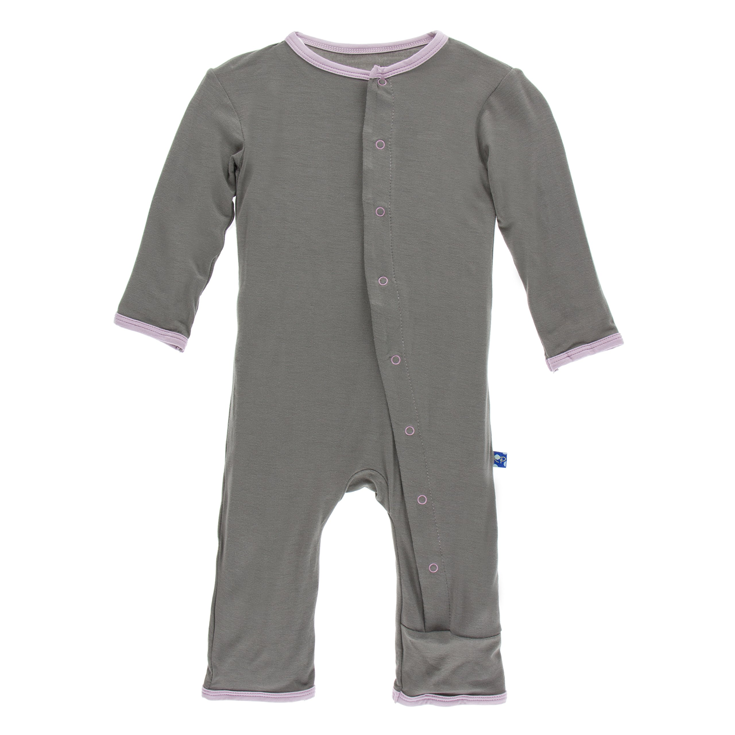 Kickee Pants Big Girls' Fitted Applique Coverall in Cobblestone Poodle, 2T