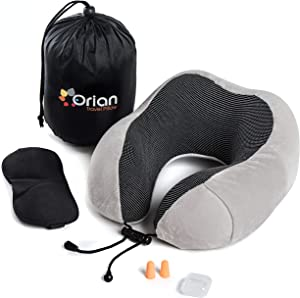 Orian Travel Pillow Set, Pure Memory Foam, Full Head & Neck Support, The Best Travel Set on an AirplaneCarBus Incl. Luxury Eye Mask, Earplugs & Large Side Cellphone Pocket -White
