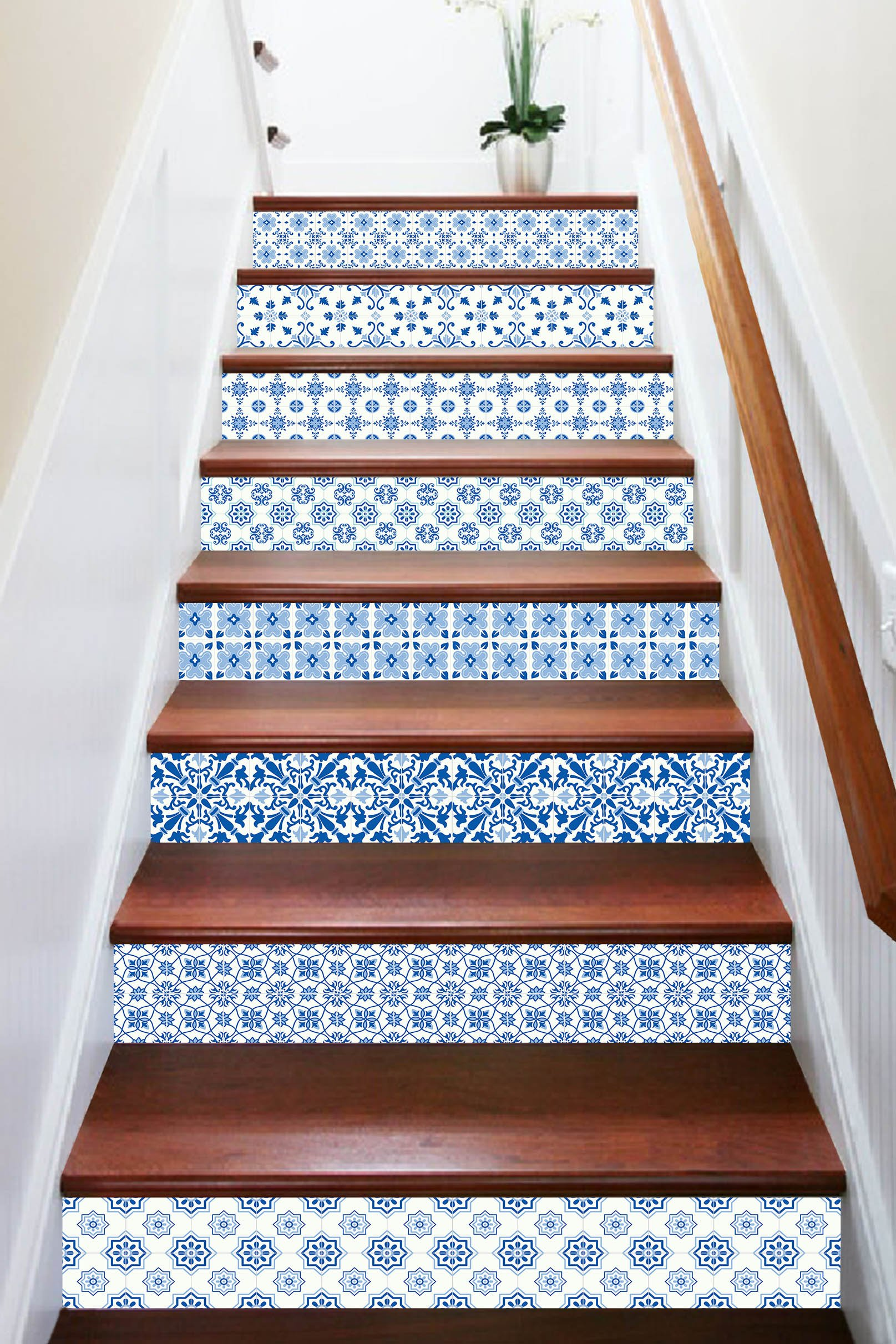 3D Clear Blue Pattern 7843 Stair Risers Decoration Photo Mural Vinyl Decal Wallpaper Murals Wallpaper Mural US Lemon (15x H:18cm x W:94cm (7''x37'')) by AJ WALLPAPER