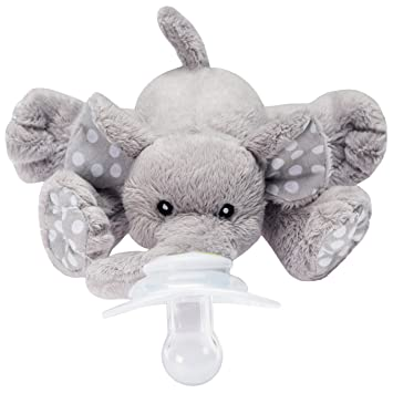 Amazon Com Nookums Paci Plushies Elephant Buddies Pacifier Holder Plush Toy Includes Detachable Pacifier Use With Multiple Brand Name Pacifiers