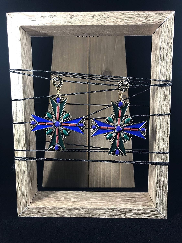NoraJae Gems Green and Blue Statement Cross Earrings