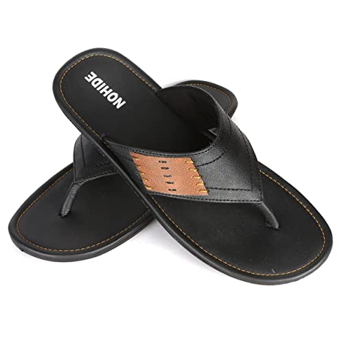 584ecda94c5 NOHIDE Black Brown Side Vegan Slippers Office   Shops   Daily Use For Men    Boys  Buy Online at Low Prices in India - Amazon.in