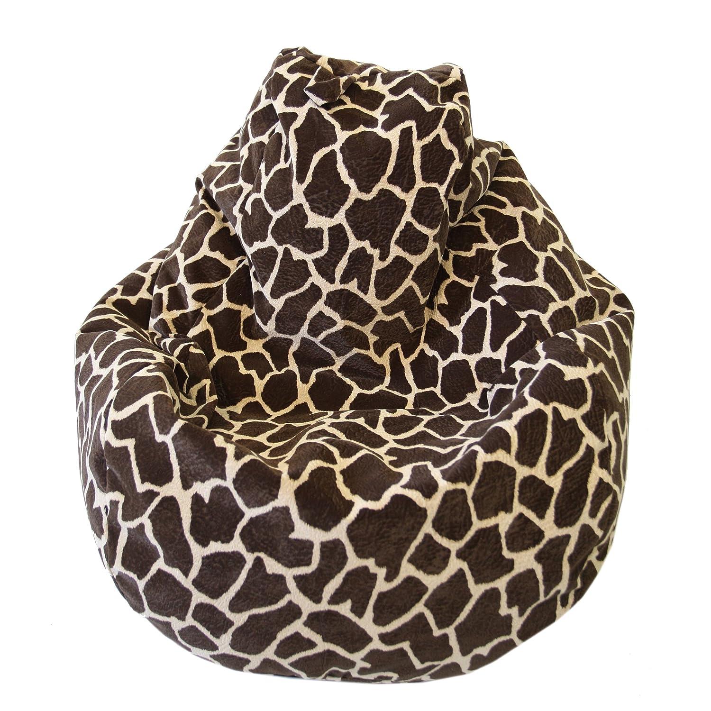 Tremendous Large Animal Print Micro Suede Bean Bag Color Size Large Giraffe Evergreenethics Interior Chair Design Evergreenethicsorg