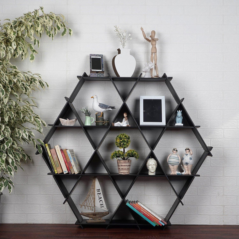 LaModaHome Cardboard Shelf 100% Corrugated Cardboard (45.3'' x 39.4'' x 6.7'') Beach Black Triangle Hexagon Decorative Living Room Storage Shelf Multi Purpose by LaModaHome