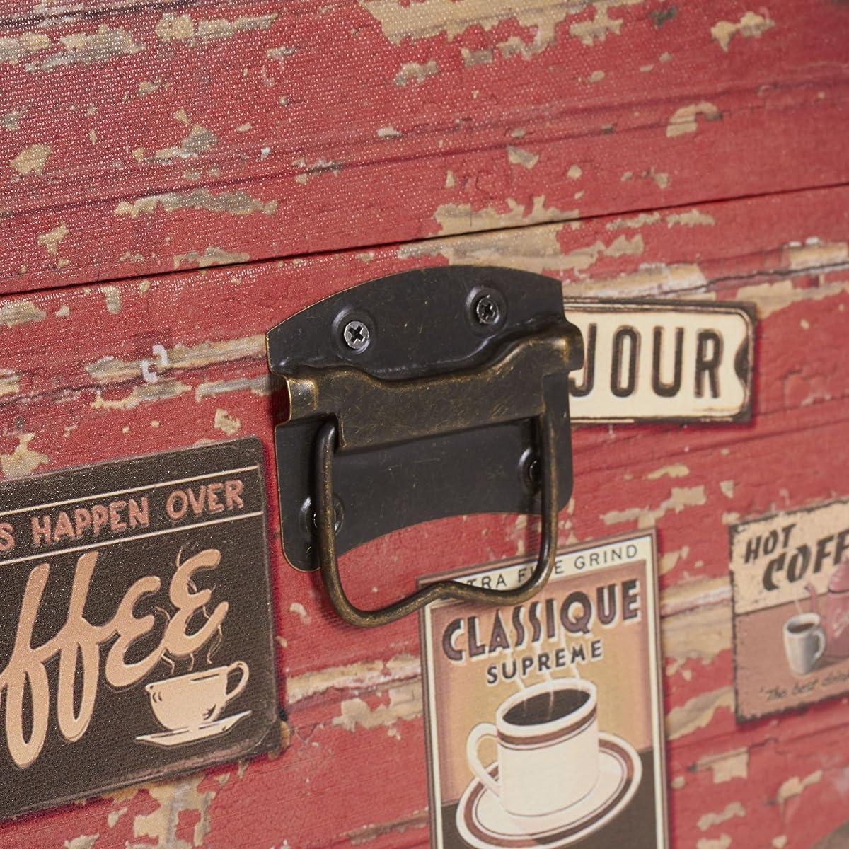 Household Essentials 9245-1 Medium Decorative Home Storage Trunk - Luggage Style - Coffee Shop Design