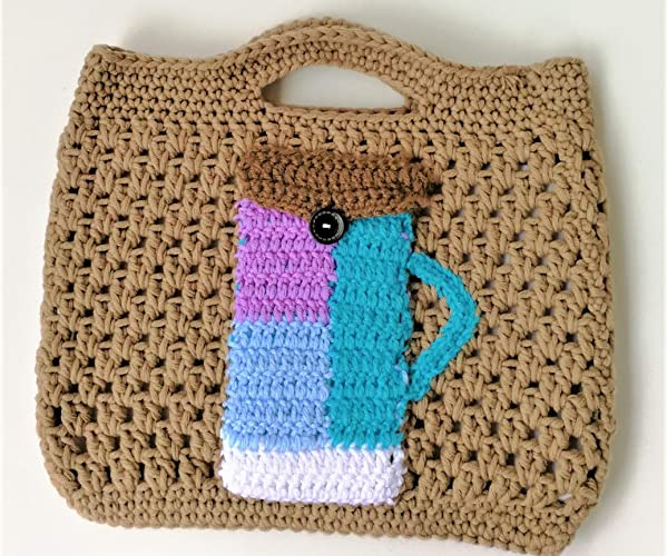 Special Cute Women Crocheted Office Hand Bag With Cell Phone Case Of Colorful Cup Birthday Gifts Mothers Day Presents