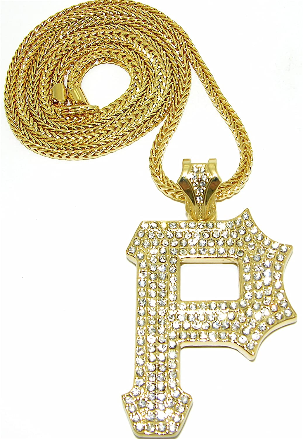 GWOOD P Iced Out Pendant Replica With Gold Color 36 Inch Long Franco Style Chain