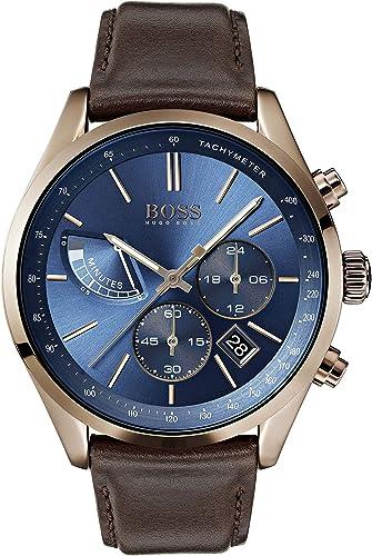 montre hugo boss bracelet cuir bleu