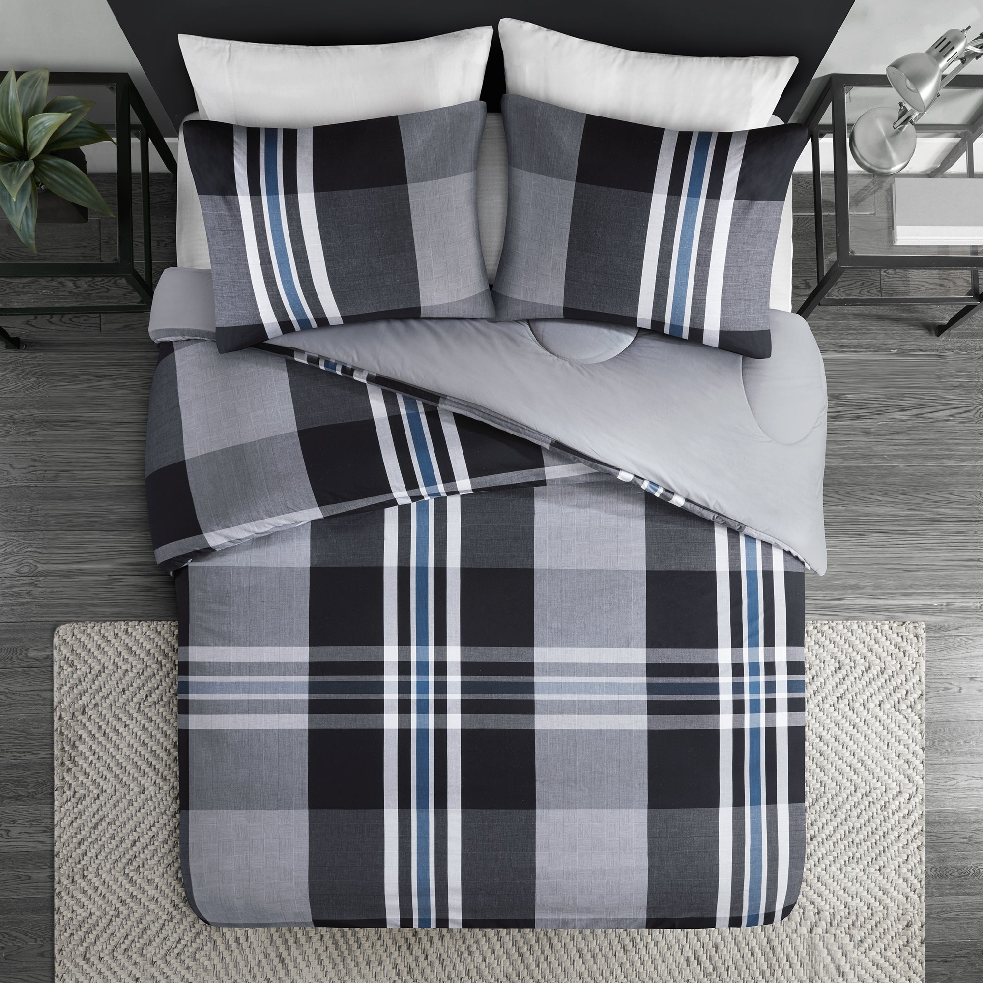 Ink+Ivy Nathan Twin Comforter Set Teen Boy Bedding - Grey, Plaid – 2 Piece Bed Sets – 100% Cotton Yarn Bed Comforter by Ink+Ivy (Image #3)
