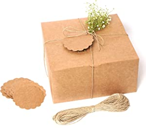 MUDRIT Kraft Gift Boxes 10 Pack 8x8x4 Inches, Thick Kraft Paper Boxes with Lids, Tags & Jute Rope for Gifts, Wedding Favours, Bridesmaid Proposals, Cupcakes, Crafting