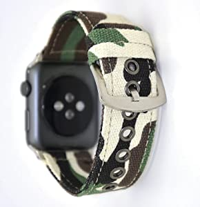 NewSilkRoad for Apple Watch Band 38mm,Canvas Cotton Woven Bracelet Wrist Strap with Metal Clasp Adapter for iWatch Series 1 Series 2 Series 3 Sport Edition (Camouflage Green)