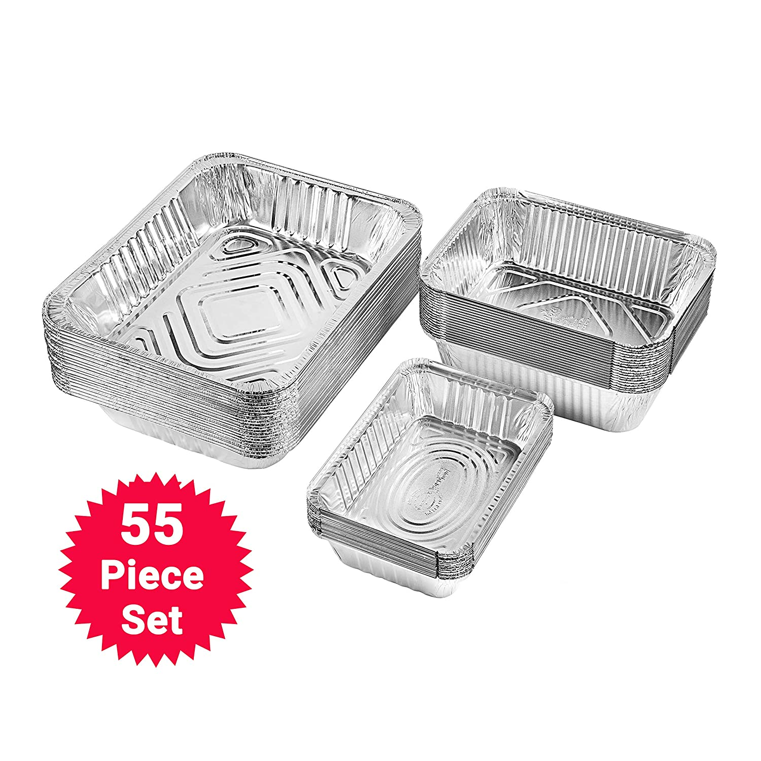 Netko Aluminum Foil Pans Set | Safe Party Food Storage Containers | Disposable & Reusable Deep Kitchen Containers for Baking, Buffets, Cooking, Catering & Roasting | 3-Size Pack Pack of 55